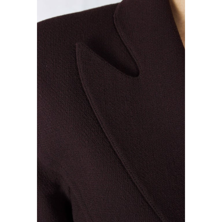 """Thierry Mugler """"Angel"""" sculptural chocolate wool jacket, circa 1979 For Sale 2"""