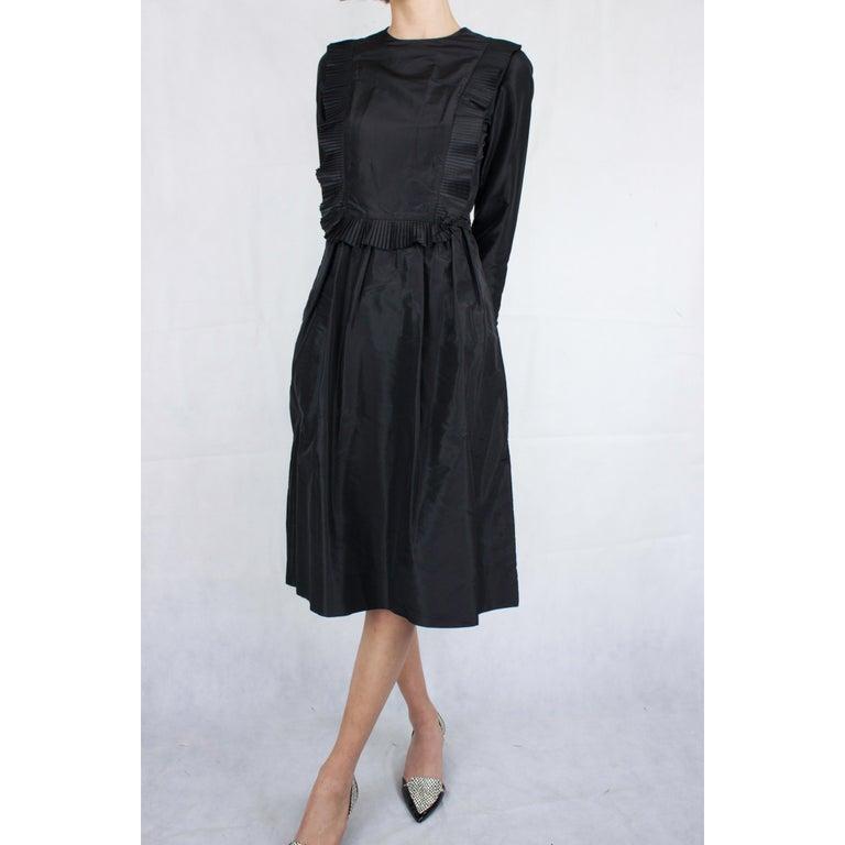 Chanel silk little black dress, Circa 1970 For Sale 4