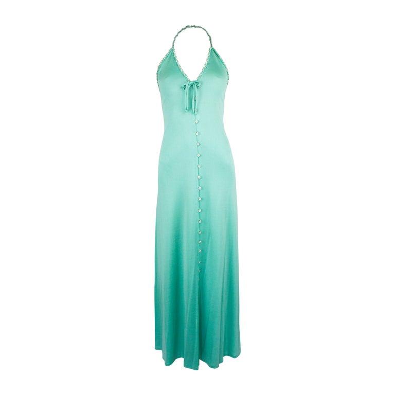 Loris Azzaro silk jersey couture diamanté adorned evening dress, circa 1970 For Sale