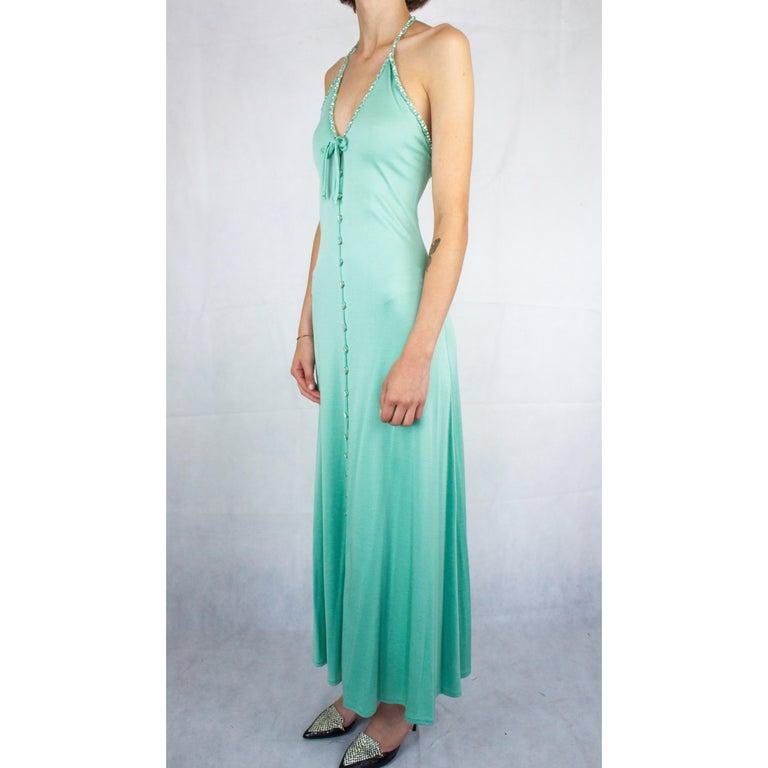 Blue Loris Azzaro silk jersey couture diamanté adorned evening dress, circa 1970 For Sale