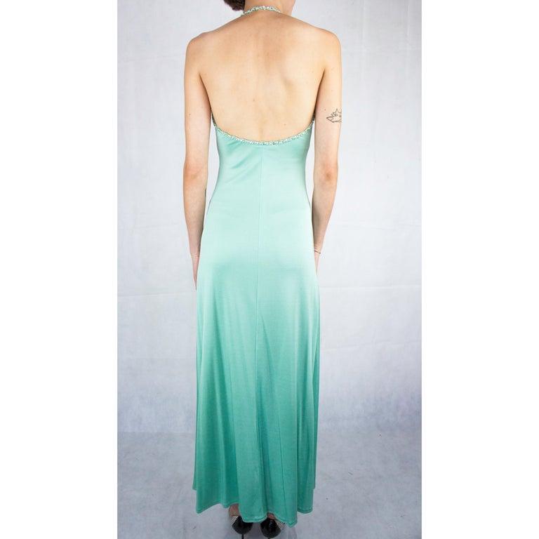 Women's Loris Azzaro silk jersey couture diamanté adorned evening dress, circa 1970 For Sale