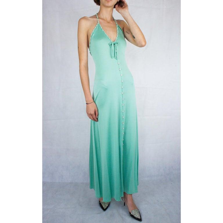 Loris Azzaro silk jersey couture diamanté adorned evening dress, circa 1970 For Sale 1