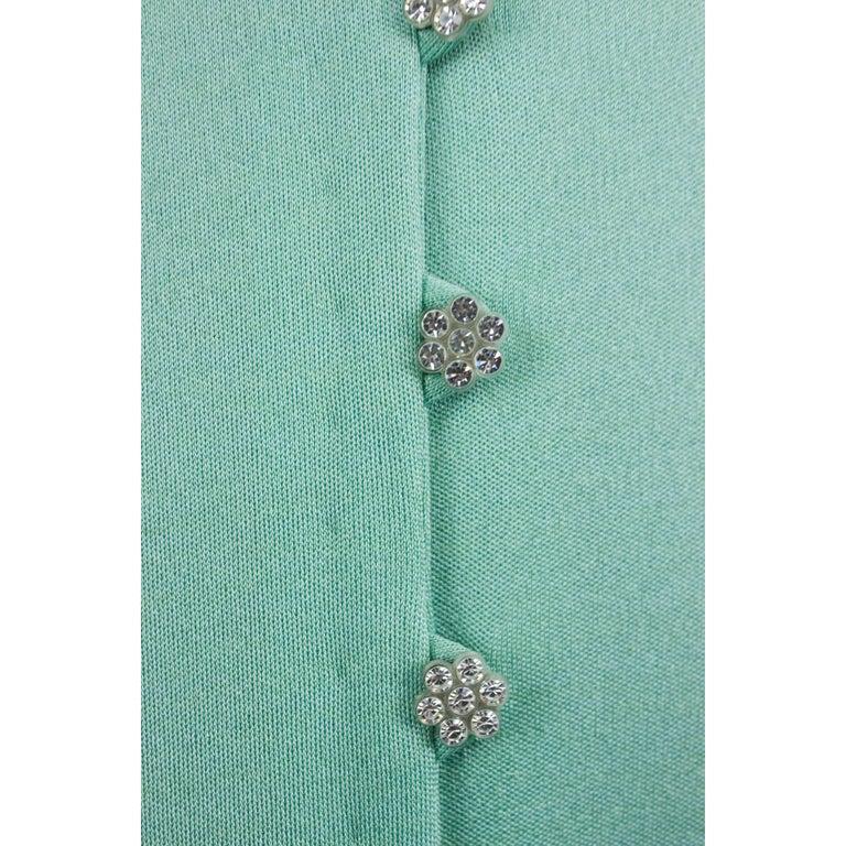 Loris Azzaro silk jersey couture diamanté adorned evening dress, circa 1970 For Sale 3