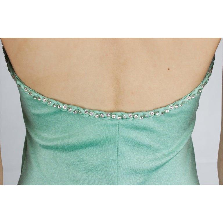 Loris Azzaro silk jersey couture diamanté adorned evening dress, circa 1970 For Sale 4