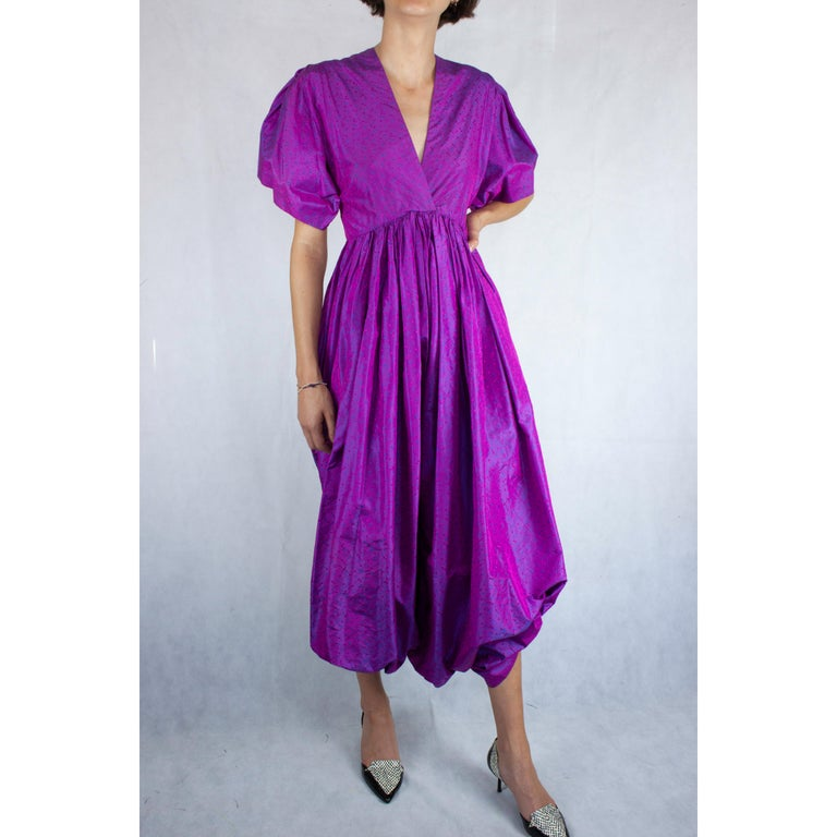 Unlabelled  Madame Grès iridescent purple silk evening pant outfit. circa 1970s For Sale 1