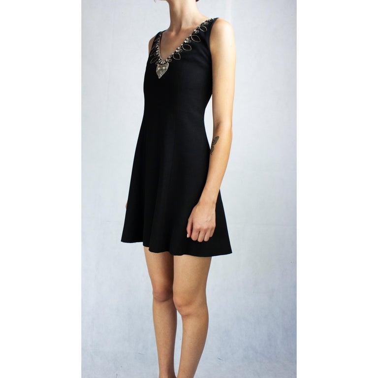 Black Christian Dior Celtic jewels Numbered crepe evening mini dress, circa 1994 For Sale