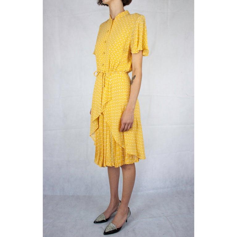 Orange Valentino couture, pleated , printed silk chiffon cocktail dress. circa 1970s For Sale