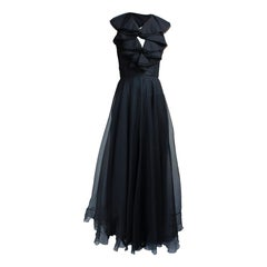 Christian Dior black silk seersucker organza evening dress. circa 1970s