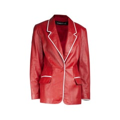 Louis Feraud red and white tailored leather jacket.circa 1980s