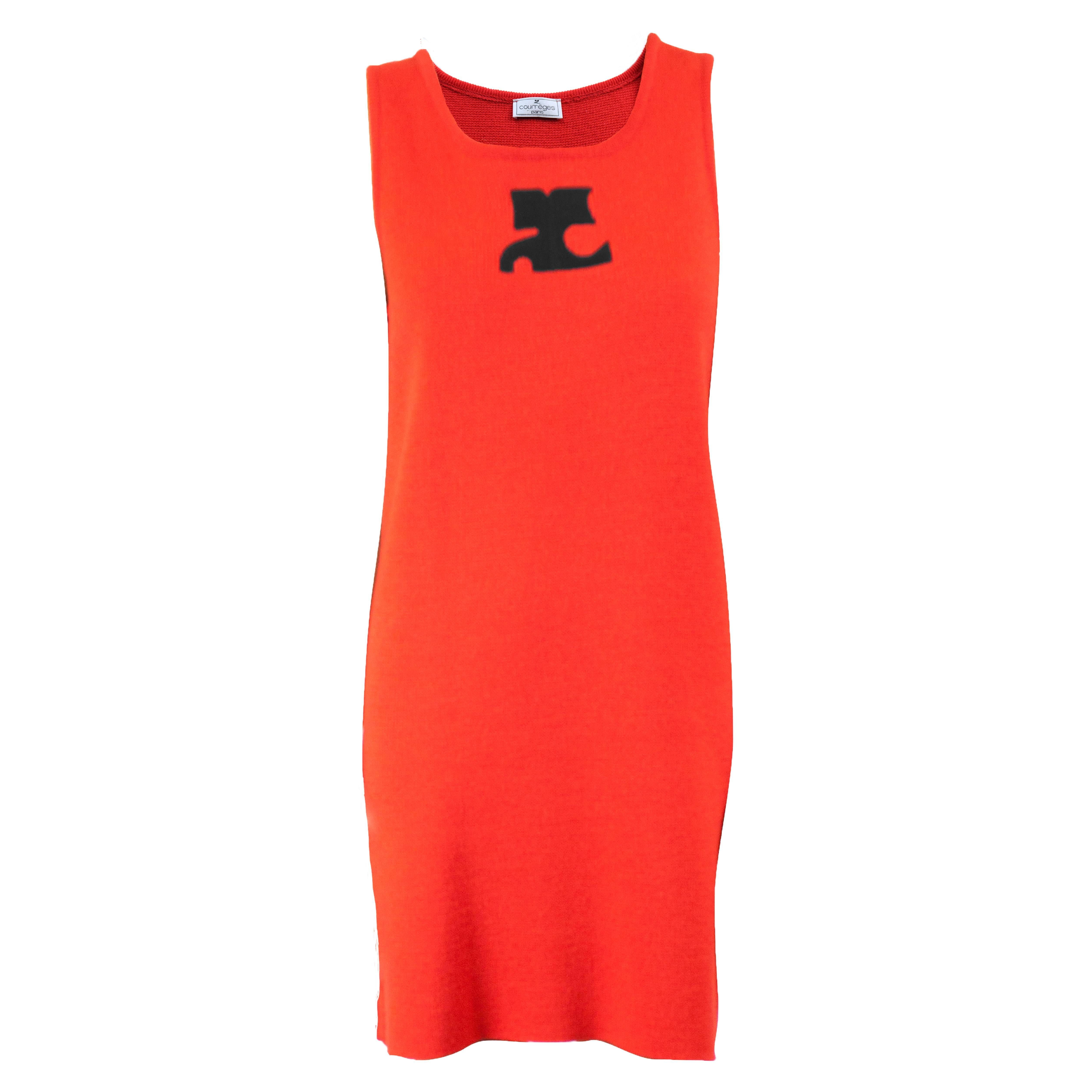 Courreges red knitted dress Circa 1980
