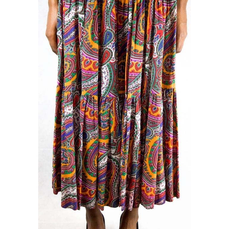 Women's Yves Saint Laurent long layered Paisley gypsy skirt, Fall Winter 1976 For Sale