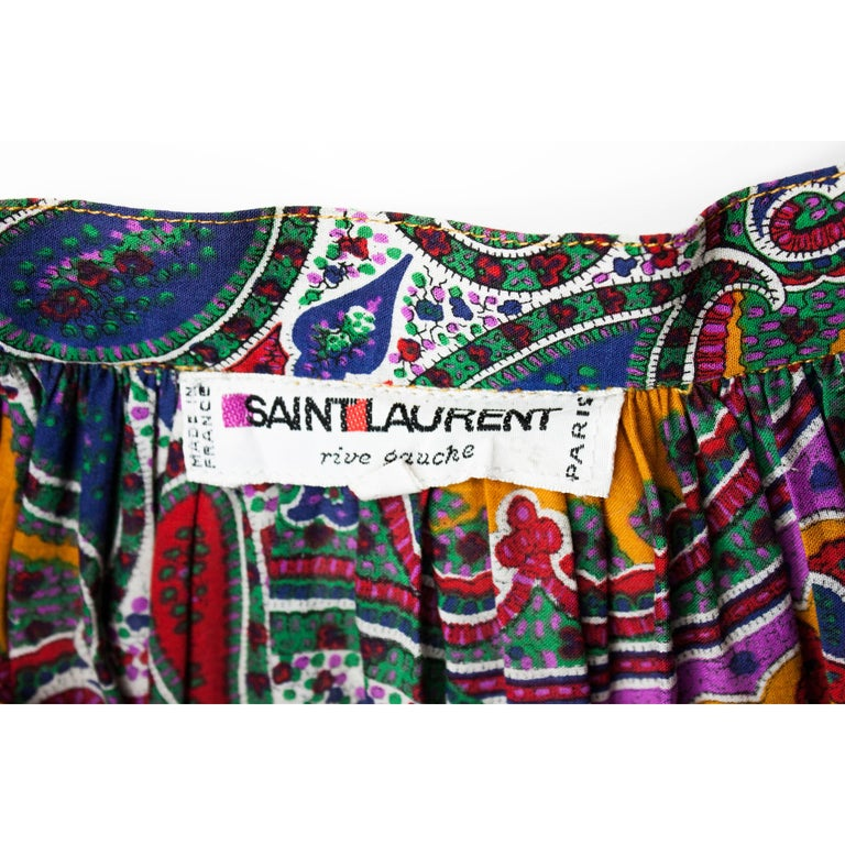 Yves Saint Laurent long layered Paisley gypsy skirt, Fall Winter 1976 For Sale 3
