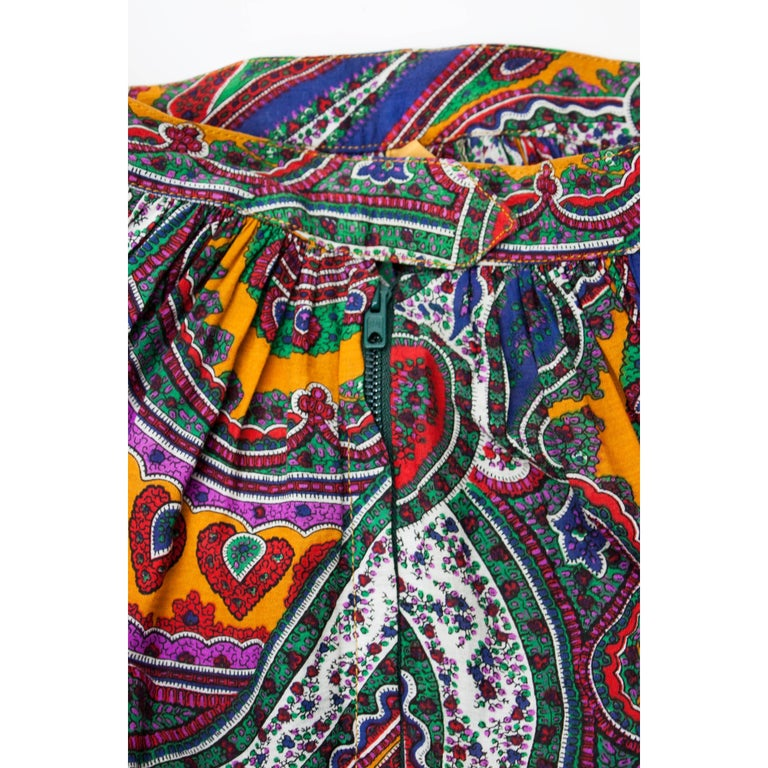 Yves Saint Laurent long layered Paisley gypsy skirt, Fall Winter 1976 For Sale 1
