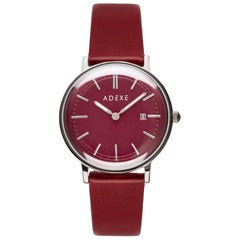 ADEXE Stainless Steel Petite Red Quartz Wristwatch