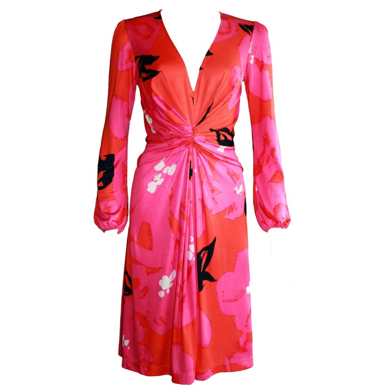 Flora Kung Twist Front Azalea Floral Printed Silk Jersey Dress