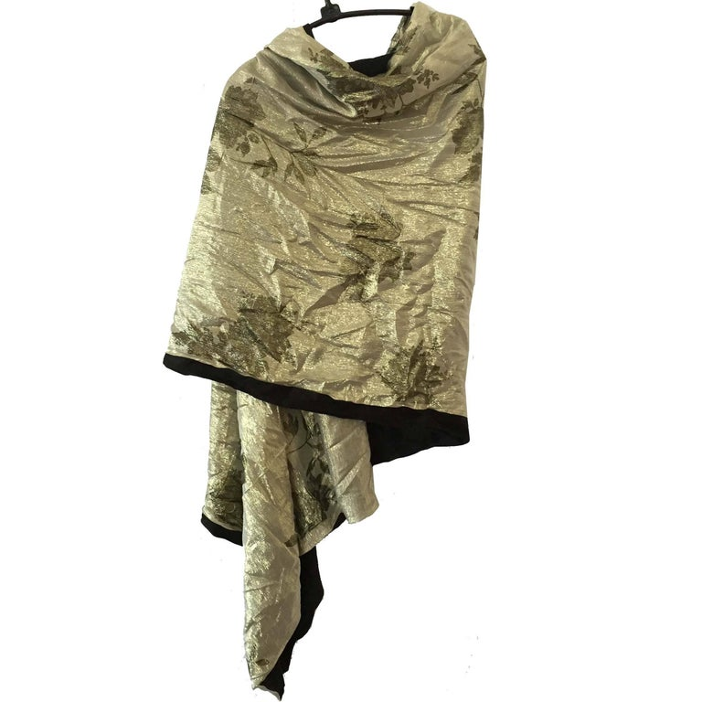 Flora Kung Gold Washed Reversible Printed Silk Chiffon Silk Jersey Shawl Wrap