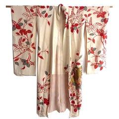 Gold Phoenix Embroidered Japanese Brocade Fancy Silk Kimono