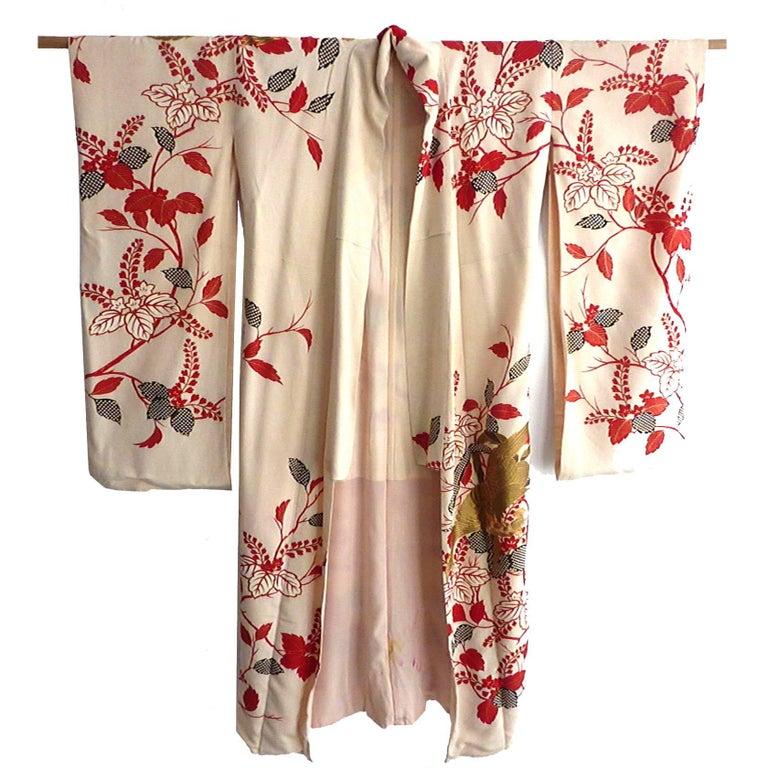 Gold Phoenix Embroidered Japanese Brocade Fancy Silk Kimono  1