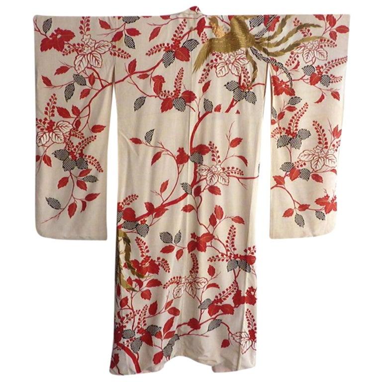 Gold Phoenix Embroidered Japanese Brocade Fancy Silk Kimono  5