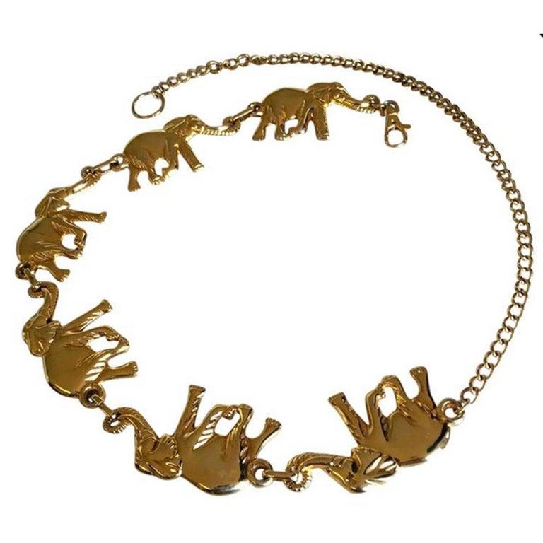 Vintage Jumbo Gold Elephant substential chain link belt For Sale 2