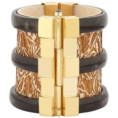 Fouché Cuff Bracelet Bespoke Gold Horn Sapphire Emerald Ruby Wood