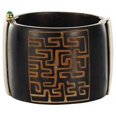 Fouche Bespoke Africa Horn Emerald Cuff Bracelet