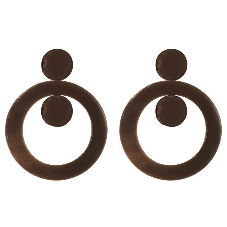 Fouche Art Deco Horn Hoop Earrings For Sale