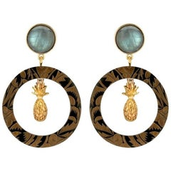 Fouché Art Deco Labradorite Pineapple Horn Earrings