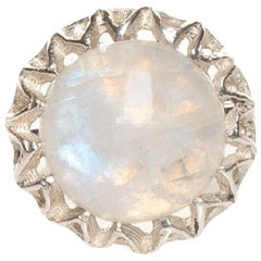 Fouché Moonstone Cocktail Silver Ring, Made to Order