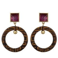 Fouche Art Deco Horn Amethyst Africa Engraved Earrings