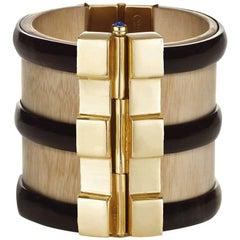 Fouche Art Deco Cuff Bracelet Gold Bespoke Horn Sapphire Emerald Ruby Wood