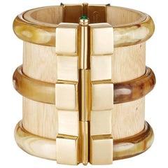 Fouche Cuff Bracelet Bespoke Diana Vreeland Horn Wood Emerald Ruby