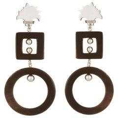 Fouche Art Deco Horn Silver Palm Earrings