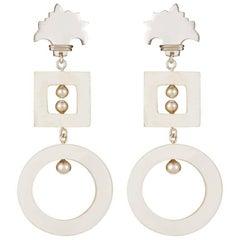 Fouche Art Deco Horn Silver Palm Drop Dangle Earrings