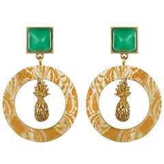Fouche Chrysoprase Sugarloaf Pineapple Hoop Earrings