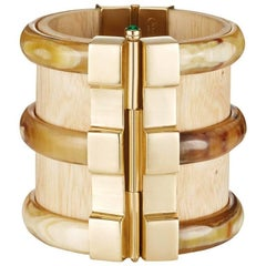 Fouche Bespoke Gold Diana Vreeland Horn Wood Emerald Ruby Cuff Bracelet