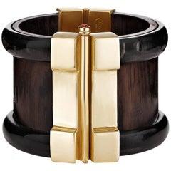Fouché Gold Bespoke Horn Wood Ruby Emerald Opal Cuff Bracelet