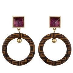 Fouche Horn Amethyst Africa Engraved Earrings