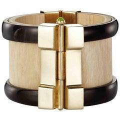 Fouche Art Deco Cuff Bracelet Gold Bespoke Horn Wood Emerald Sapphire Ruby