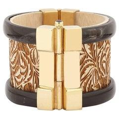 Art Deco Cuff Bracelet Gold Horn Sapphire Emerald Wood Cuff