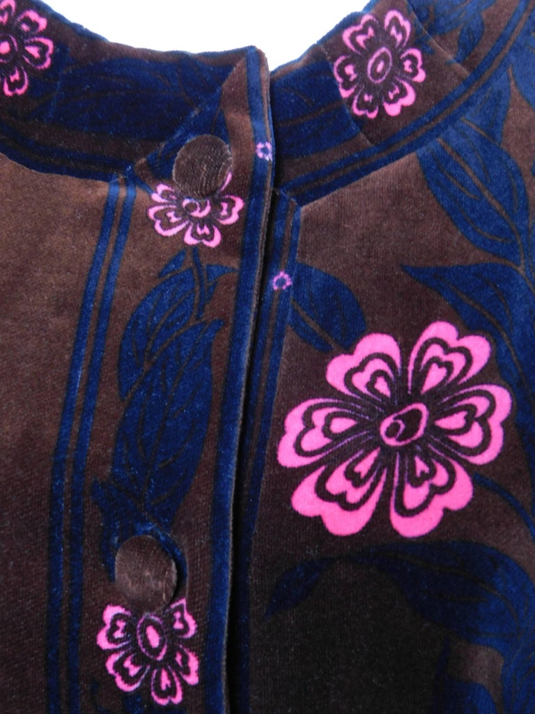 Black Emilio Pucci Printed Velvet Coat with Mink Cuffs, 1960s  For Sale