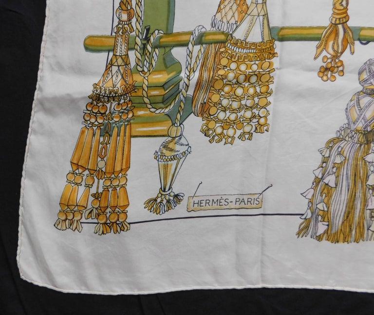 Hermes Vintage Cream White Silk Scarf