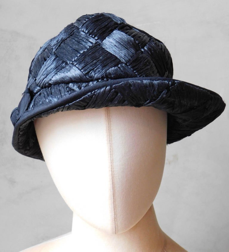 Women's  Asymmetrical 1940's Vintage Black Straw Hat  For Sale