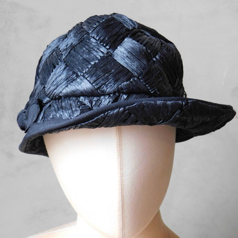 Asymmetrical 1940's Vintage Black Straw Hat  For Sale 1