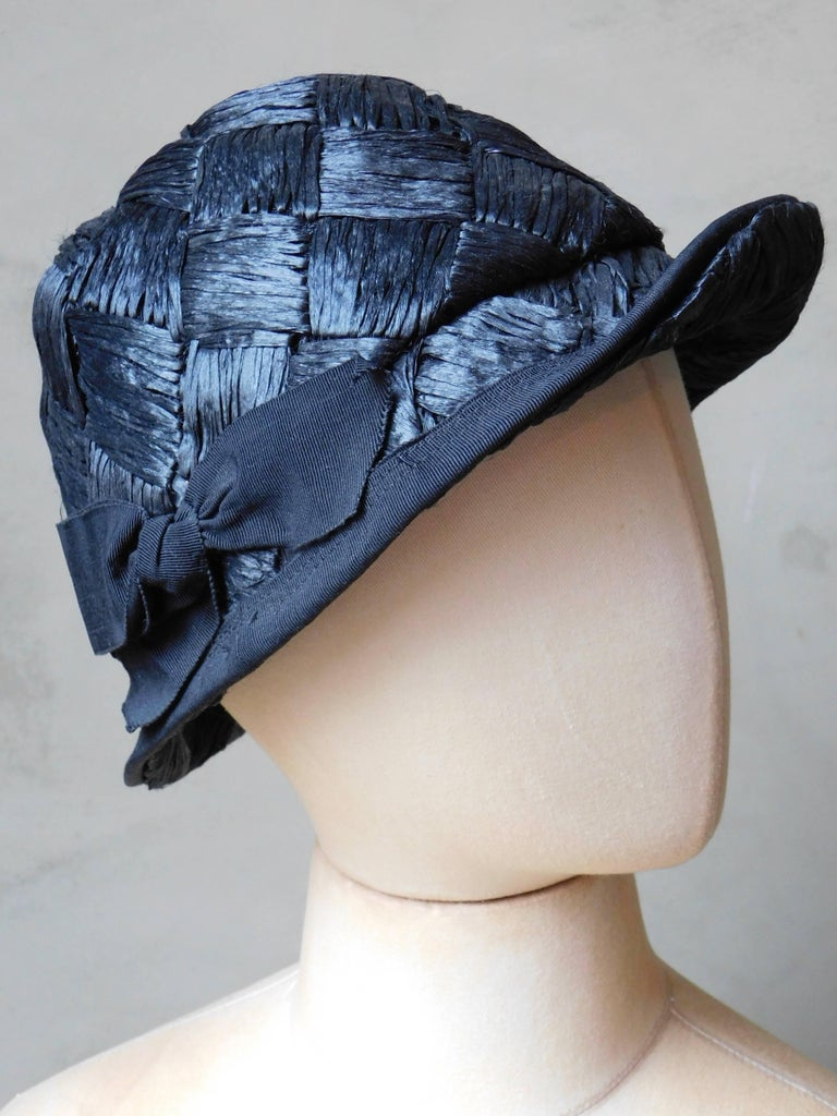 Asymmetrical 1940's Vintage Black Straw Hat  For Sale 2