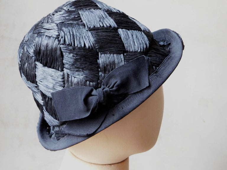 Asymmetrical 1940's Vintage Black Straw Hat  For Sale 3