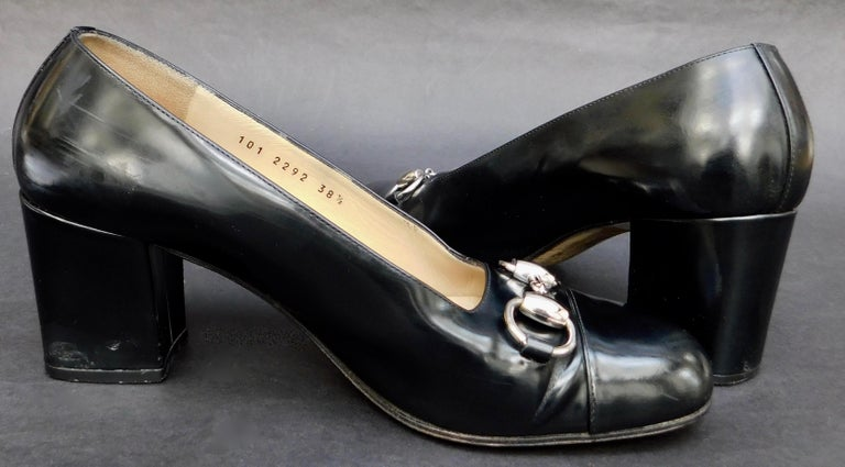 c9e53bf03 Black Vintage Gucci Cap Toe Pumps with Silver Horse Bit For Sale at ...