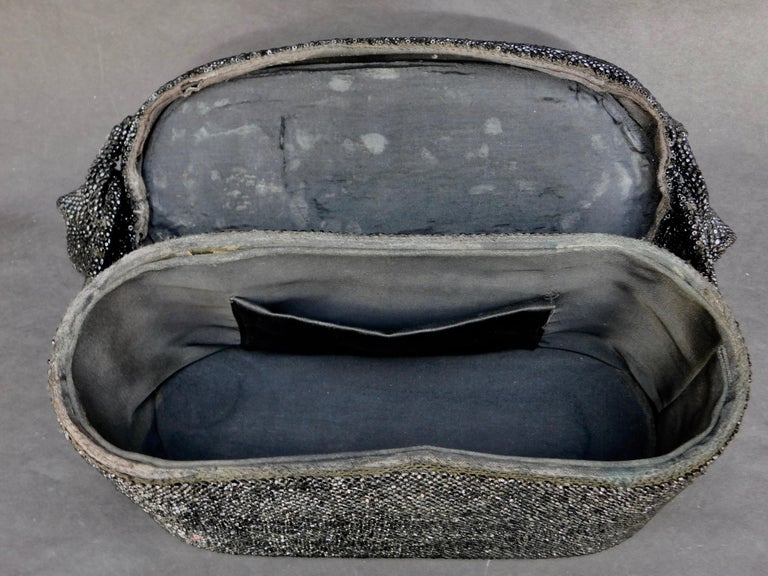 Women's 1940's French Black Jet Glass Beaded Box Style Evening Bag For Sale