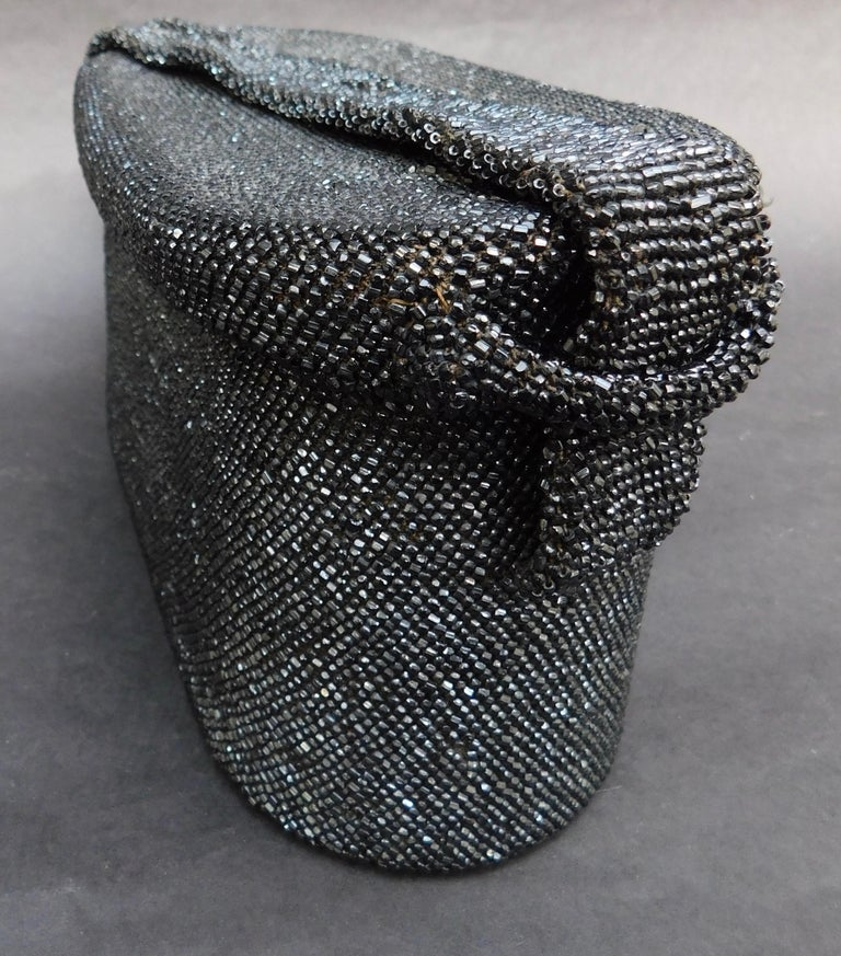 1940's French Black Jet Glass Beaded Box Style Evening Bag For Sale 1