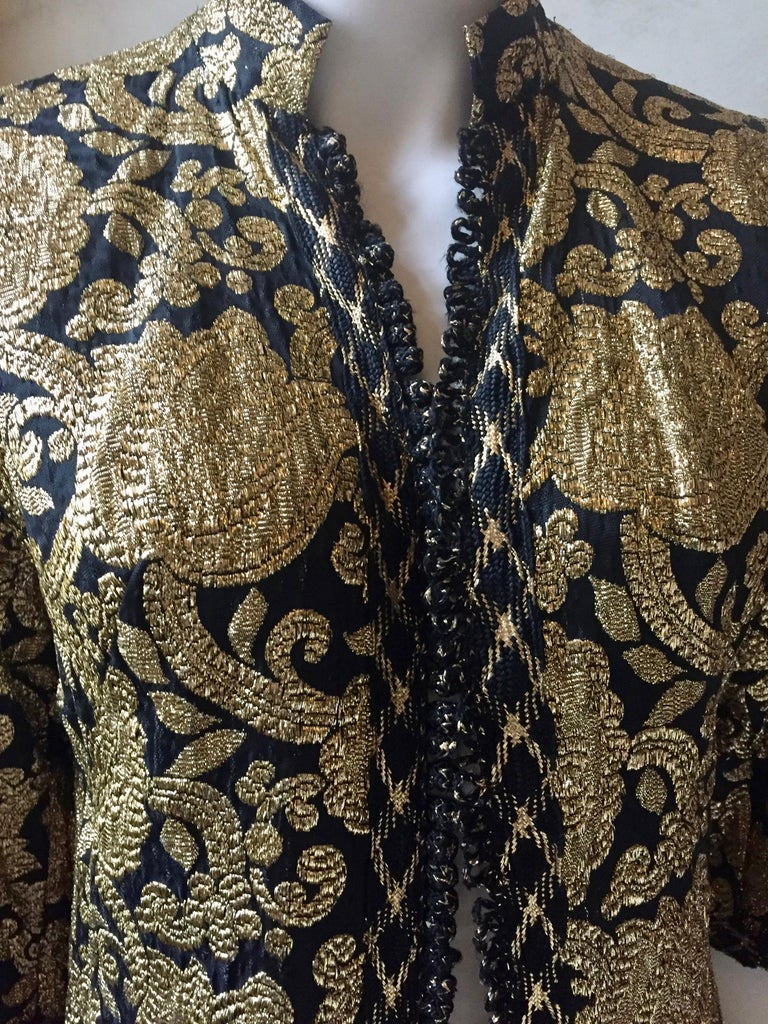 Women's Vintage Gold and Black Brocade Dress/Jacket with Knot Buttons For Sale